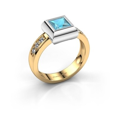 Ring Charlotte Square 585 Gold Blau Topas 5 mm