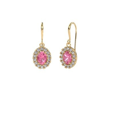 Drop earrings Jorinda 1 585 gold pink sapphire 7x5 mm
