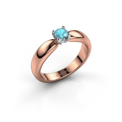 Promise ring Katrijn 585 rosé goud blauw topaas 4.2 mm