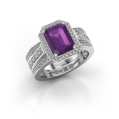 Picture of Ring Dodie 3 585 white gold amethyst 9x7 mm