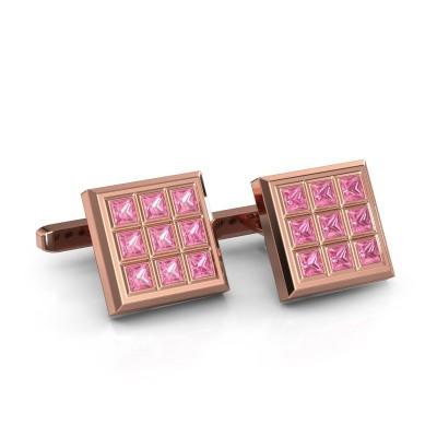 Foto van Manchetknopen Clen 375 rosé goud roze saffier 3 mm