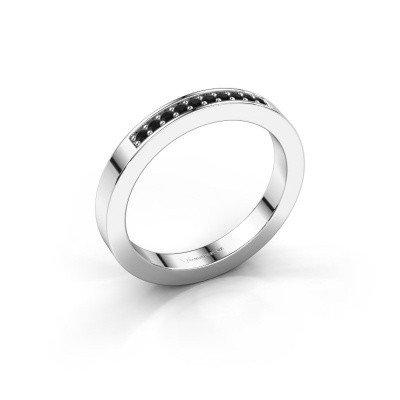 Stackable ring Loes 3 375 white gold black diamond 0.12 crt
