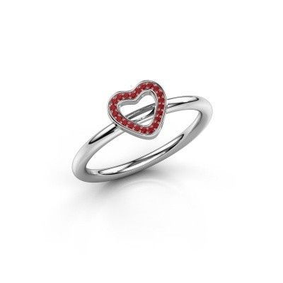 Foto van Ring Shape heart small 375 witgoud robijn 0.8 mm