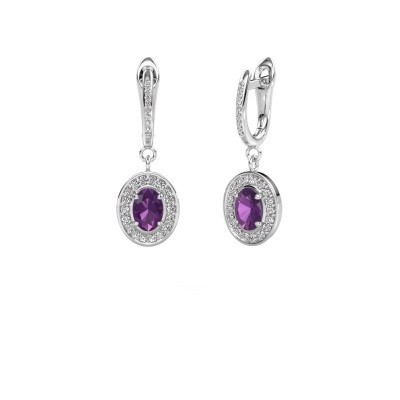 Picture of Drop earrings Layne 2 925 silver amethyst 7x5 mm