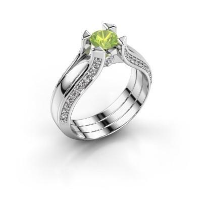 Engagement ring Nadine 585 white gold peridot 5 mm