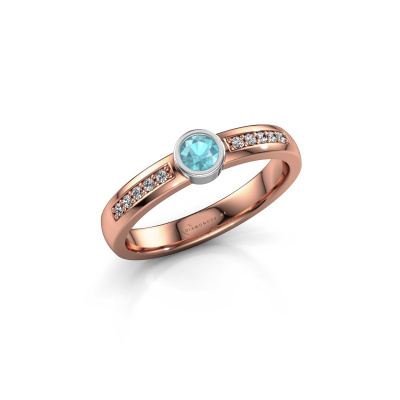 Engagement ring Ise 2 585 rose gold blue topaz 3.7 mm