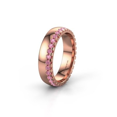 Wedding ring WH6122L25B 375 rose gold pink sapphire ±5x2 mm