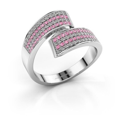 Ring Athena 585 witgoud roze saffier 1 mm
