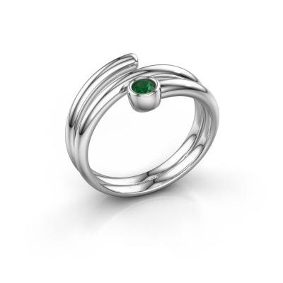 Ring Jenna 925 zilver smaragd 3 mm