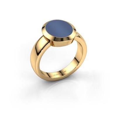 Zegelring Oscar 3 585 goud blauw lagensteen 12x10 mm