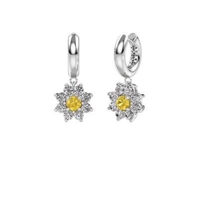 Drop earrings Geneva 1 585 white gold yellow sapphire 4.5 mm