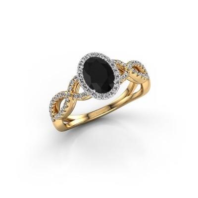 Engagement ring Dionne ovl 585 gold black diamond 1.38 crt