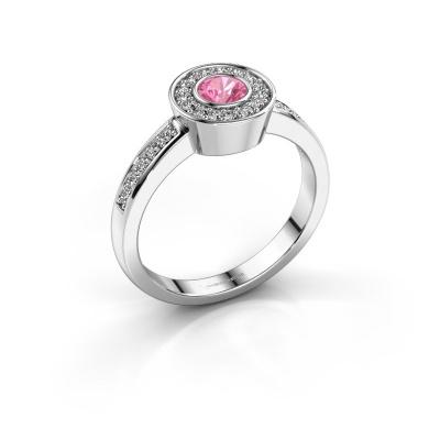 Ring Adriana 2 950 platina roze saffier 4 mm