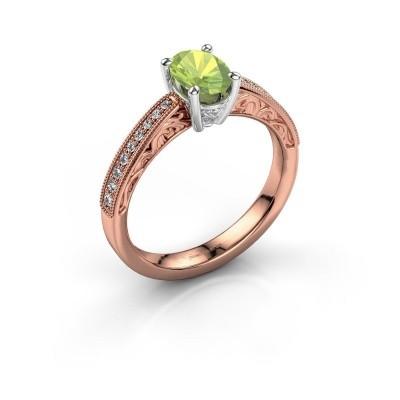 Verlovingsring Shonta OVL 585 rosé goud peridoot 7x5 mm