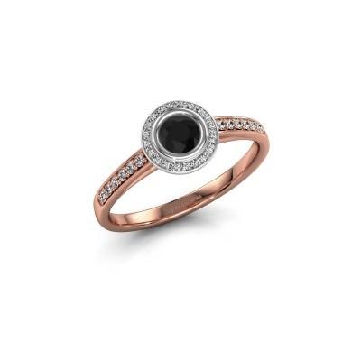 Engagement ring Noud 2 RND 585 rose gold black diamond 0.440 crt
