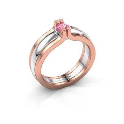 Foto van Ring Jade 585 witgoud roze saffier 4 mm