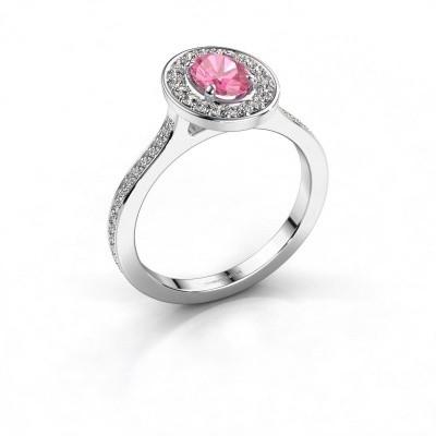 Foto van Ring Madelon 2 925 zilver roze saffier 7x5 mm