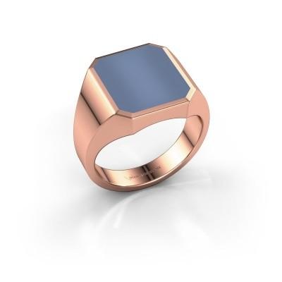 Foto van Zegelring Lars 3 375 rosé goud licht blauwe lagensteen 14x12 mm