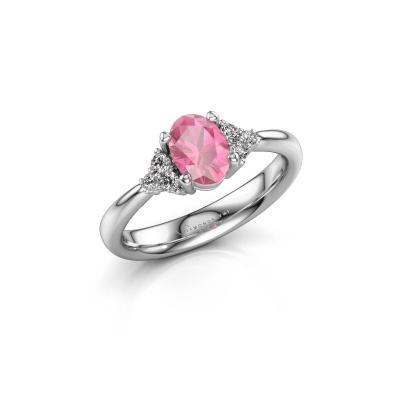 Bild von Verlobungsring Aleida OVL 1 950 Platin Pink Saphir 7x5 mm