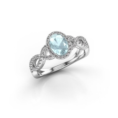 Engagement ring Dionne ovl 950 platinum aquamarine 7x5 mm