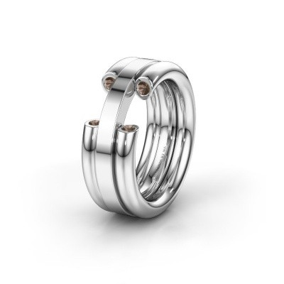 Wedding ring WH6018L 950 platinum smokey quartz ±8x3 mm