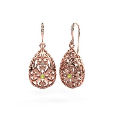 Picture of Drop earrings Idalia 2 375 rose gold peridot 2 mm