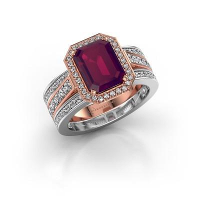 Foto van Ring Dodie 3 585 rosé goud rhodoliet 9x7 mm