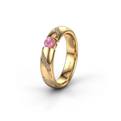 Trouwring WH2102L34A 375 goud roze saffier ±4x1.7 mm