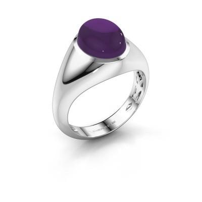 Ring Zaza 585 witgoud amethist 10x8 mm