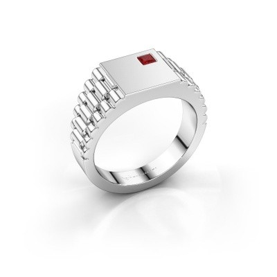 Photo de Bague style Rolex Pelle 585 or blanc rubis 3 mm