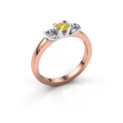 Ring Lucia 585 rose gold yellow sapphire 3.7 mm