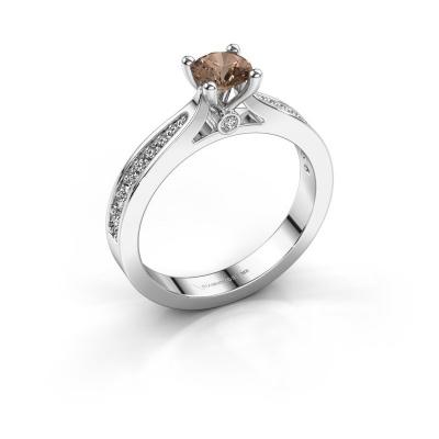 Engagement ring Evelien 585 white gold brown diamond 0.70 crt