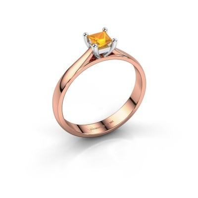 Engagement ring Sam Square 585 rose gold citrin 4 mm