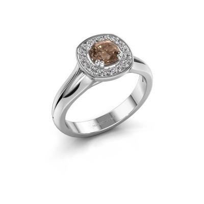 Foto van Ring Carolina 1 585 witgoud bruine diamant 0.66 crt