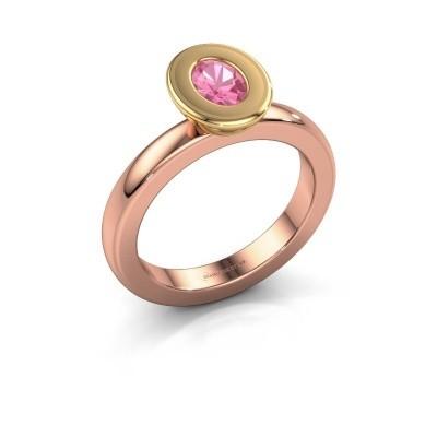 Stapelring Eloise Oval 585 rosé goud roze saffier 6x4 mm