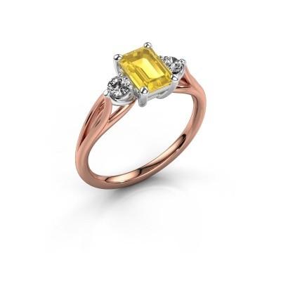 Foto van Verlovingsring Amie EME 585 rosé goud gele saffier 7x5 mm