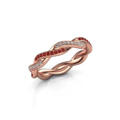Aanschuifring Swing full 375 rosé goud robijn 1 mm
