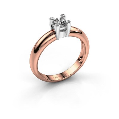 Ring Fleur 585 rosé goud diamant 0.32 crt