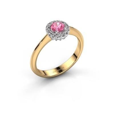 Verlovingsring Anca 585 goud roze saffier 4.2 mm