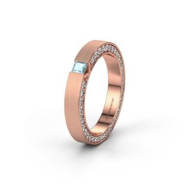 Wedding ring WH2140L14B 375 rose gold aquamarine ±3,5x2 mm