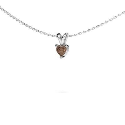 Foto van Ketting Garnet 375 witgoud bruine diamant 0.25 crt