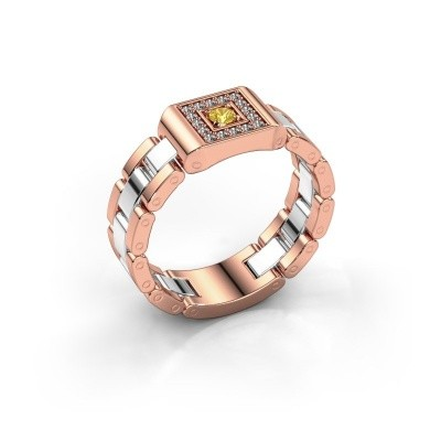 Foto van Heren ring Giel 585 rosé goud gele saffier 2.7 mm