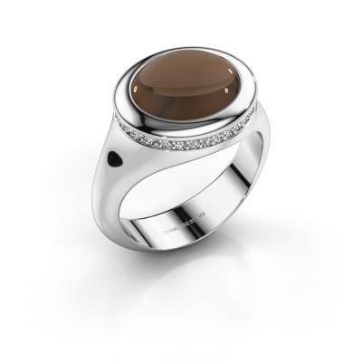 Foto van Ring Lesli ovl 925 zilver rookkwarts 12x10 mm