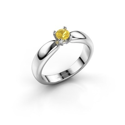 Promise ring Katrijn 585 white gold yellow sapphire 4.2 mm
