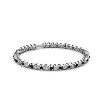 Foto van Tennisarmband Bianca 3 mm 585 witgoud zwarte diamant 4.84 crt