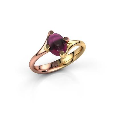 Ring Nora 585 rosé goud rhodoliet 8x6 mm