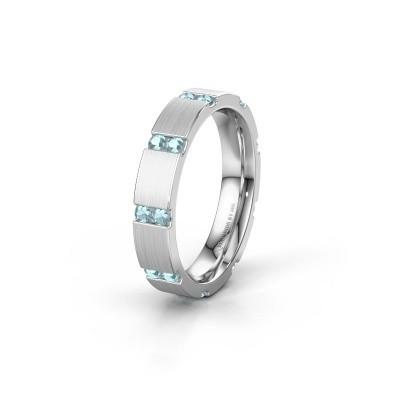 Huwelijksring WH2132L14BM 925 zilver aquamarijn ±4x2.2 mm