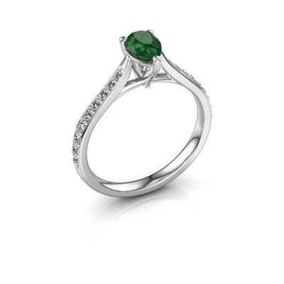 Foto van Verlovingsring Mignon per 2 950 platina smaragd 6.5x4.5 mm