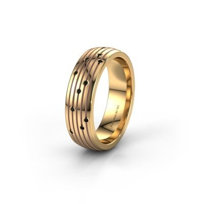 Wedding ring WH0150L26A 585 gold black diamond ±6x1.7 mm