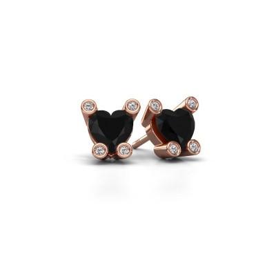 Oorstekers Cornelia Heart 375 rosé goud zwarte diamant 1.96 crt